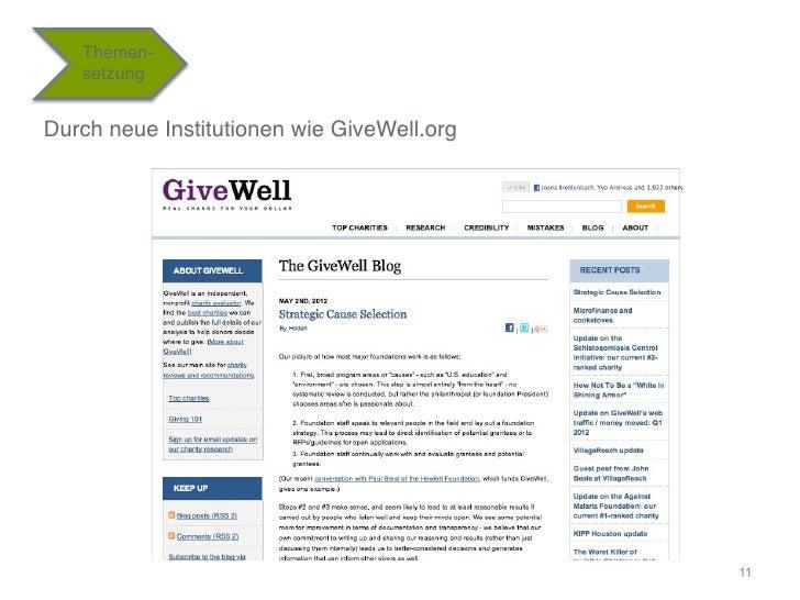 """Themen-   setzung""""Durch neue Institutionen wie GiveWell.org""""                                             11"""