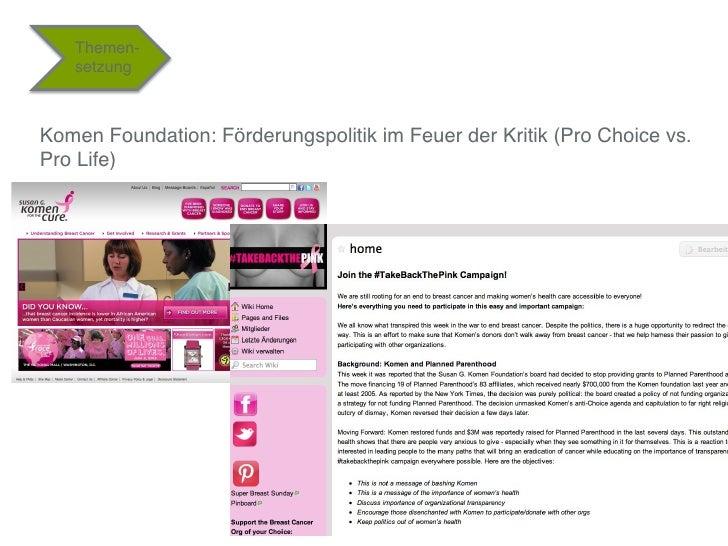 "Themen-   setzung""Komen Foundation: Förderungspolitik im Feuer der Kritik (Pro Choice vs.Pro Life)""                       ..."