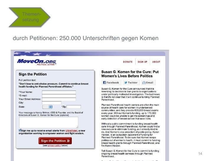 """Themen-   setzung""""durch Petitionen: 250.000 Unterschriften gegen Komen """"                                                  ..."""