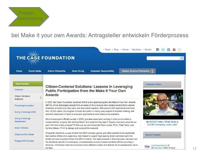 """Projekt-  entwicklung""""bei Make it your own Awards: Antragsteller entwickeln Förderprozess""""                                ..."""
