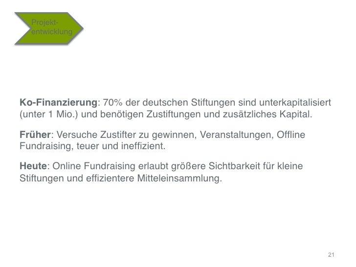 """Projekt-    entwicklung""""Ko-Finanzierung: 70% der deutschen Stiftungen sind unterkapitalisiert(unter 1 Mio.) und benötigen ..."""
