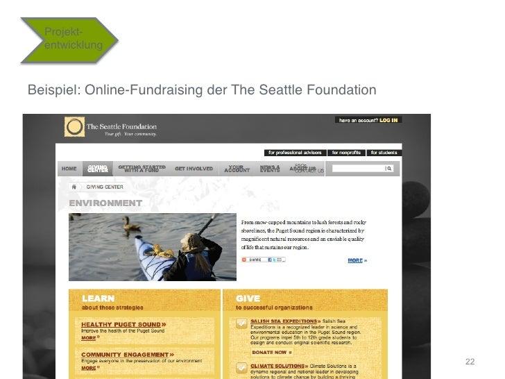 """Projekt-  entwicklung""""Beispiel: Online-Fundraising der The Seattle Foundation""""                                            ..."""
