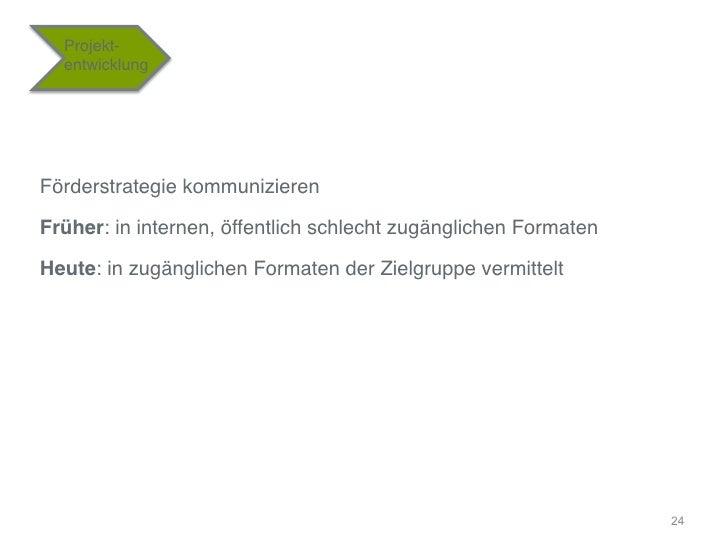"""Projekt-  entwicklung""""Förderstrategie kommunizieren""""Früher: in internen, öffentlich schlecht zugänglichen Formaten""""Heute: ..."""