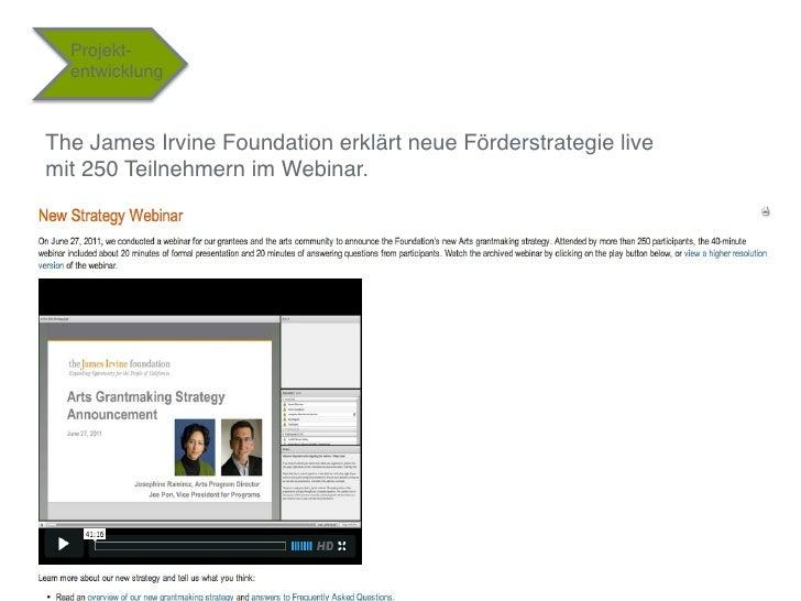 """Projekt-  entwicklung""""The James Irvine Foundation erklärt neue Förderstrategie live mit 250 Teilnehmern im Webinar.""""     ..."""