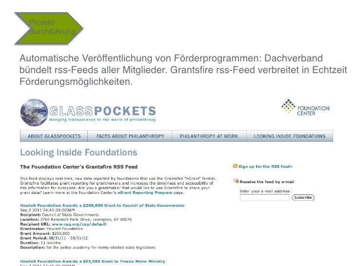 """Projekt-  durchführung""""Automatische Veröffentlichung von Förderprogrammen: Dachverbandbündelt rss-Feeds aller Mitglieder. ..."""