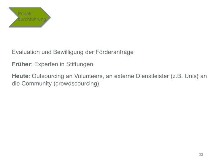 """Projekt-    durchführung""""Evaluation und Bewilligung der Förderanträge""""Früher: Experten in Stiftungen""""Heute: Outsourcing an..."""
