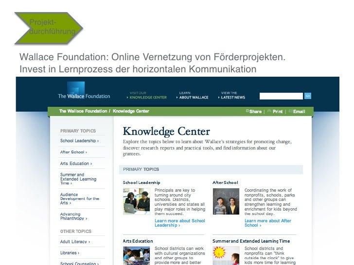 """Projekt-  durchführung""""Wallace Foundation: Online Vernetzung von Förderprojekten.Invest in Lernprozess der horizontalen Ko..."""