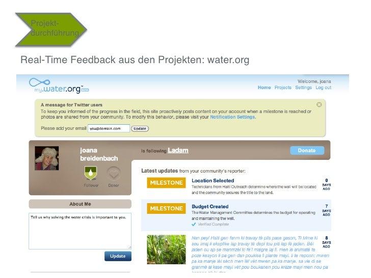 """Projekt-  durchführung""""Real-Time Feedback aus den Projekten: water.org"""""""