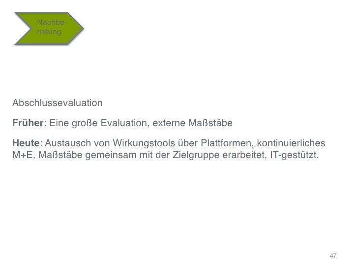 """Nachbe-     reitung""""Abschlussevaluation""""Früher: Eine große Evaluation, externe Maßstäbe""""Heute: Austausch von Wirkungstools..."""