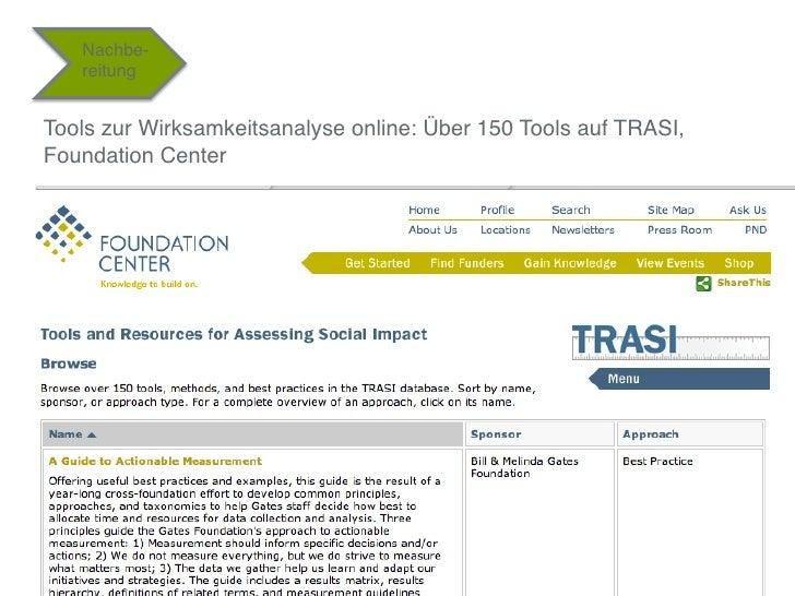 """Nachbe-    reitung""""Tools zur Wirksamkeitsanalyse online: Über 150 Tools auf TRASI,Foundation Center""""""""                     ..."""