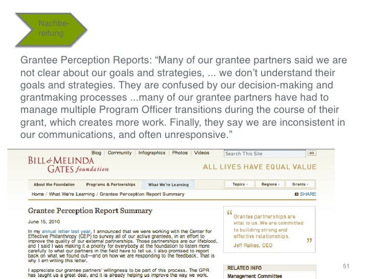 """Nachbe-    reitung""""Grantee Perception Reports: """"Many of our grantee partners said we arenot clear about our goals and stra..."""