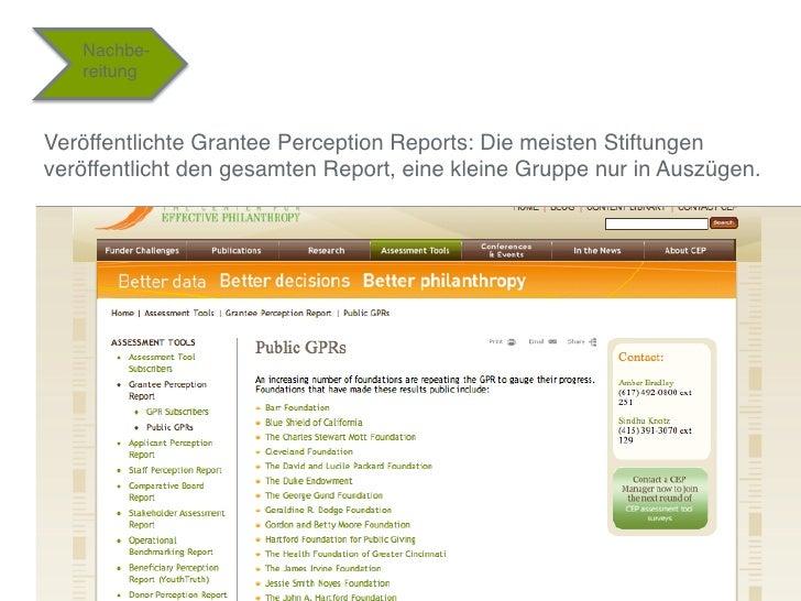 """Nachbe-    reitung""""Veröffentlichte Grantee Perception Reports: Die meisten Stiftungenveröffentlicht den gesamten Report, e..."""