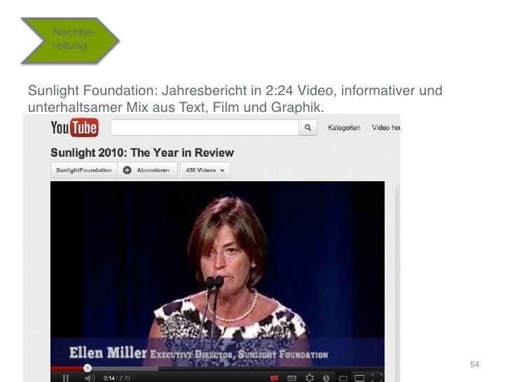 """Nachbe-   reitung""""Sunlight Foundation: Jahresbericht in 2:24 Video, informativer undunterhaltsamer Mix aus Text, Film und ..."""
