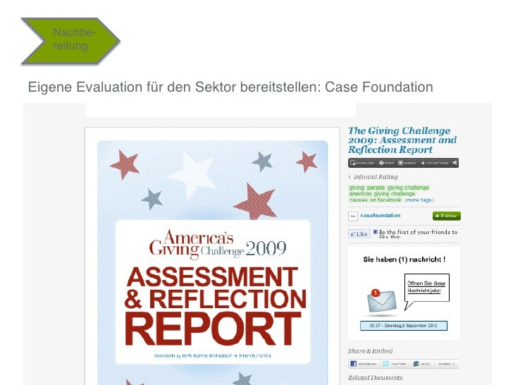 """Nachbe-   reitung""""Eigene Evaluation für den Sektor bereitstellen: Case Foundation""""                                        ..."""
