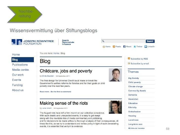"""Nachbe-   reitung""""Wissensvermittlung über Stiftungsblogs""""                                          59"""