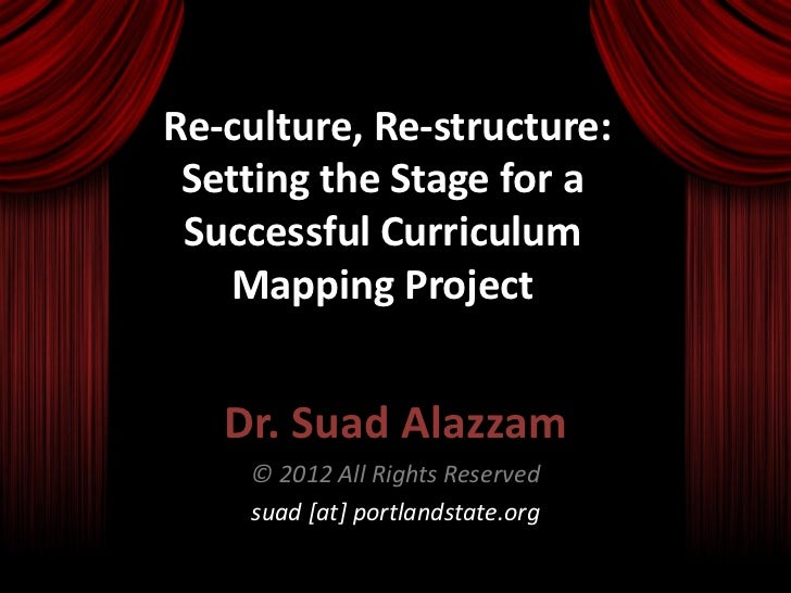 Re-culture, Re-structure: Setting the Stage for a Successful Curriculum   Mapping Project   Dr. Suad Alazzam    © 2012 All...