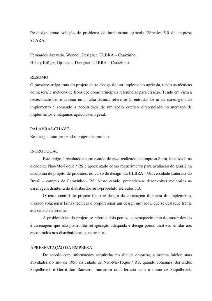 Re-design como solução de problema do implemento agrícola Hércules 5.0 da empresaSTARA.Fernandes Azevedo, Wendel, Designer...
