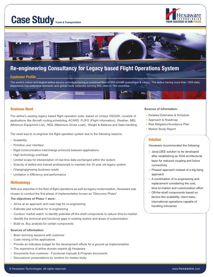 Case Study                          Travel & TransportationRe-engineering Consultancy for Legacy based Flight Operations S...