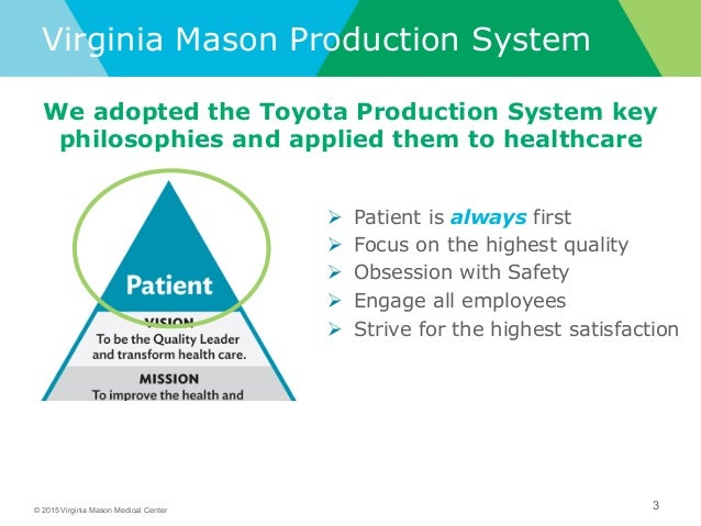 virginia mason medical center and the toyota production system essay Gary is certified in the virginia mason production system®  team at virginia mason medical center for over 30 years, most recently serving as the executive vice .
