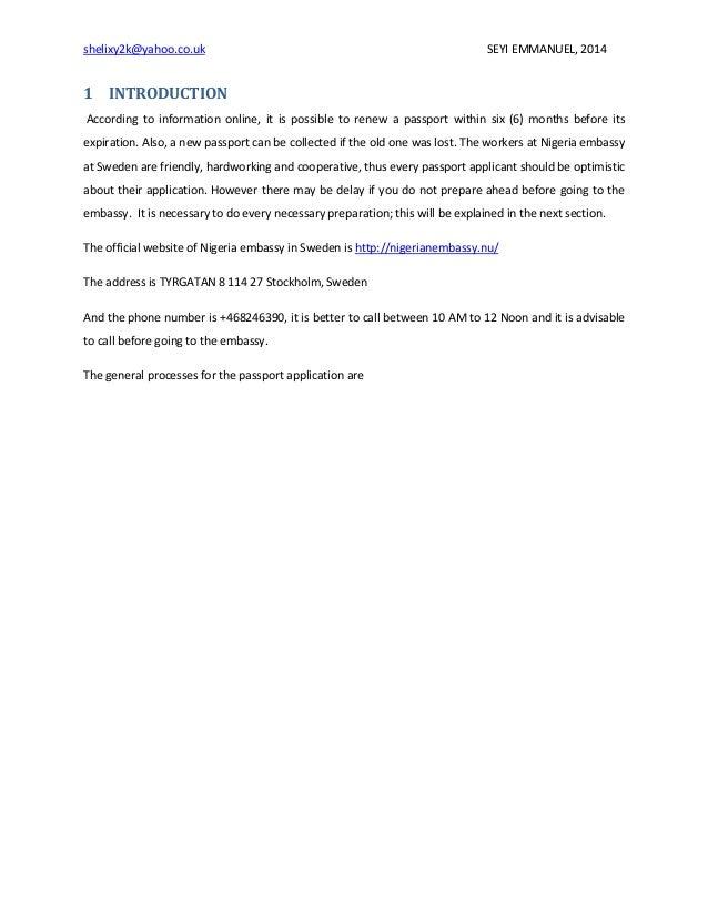 Nigeria passport re issue processes at Nigeria embassy, stockholm, sw…