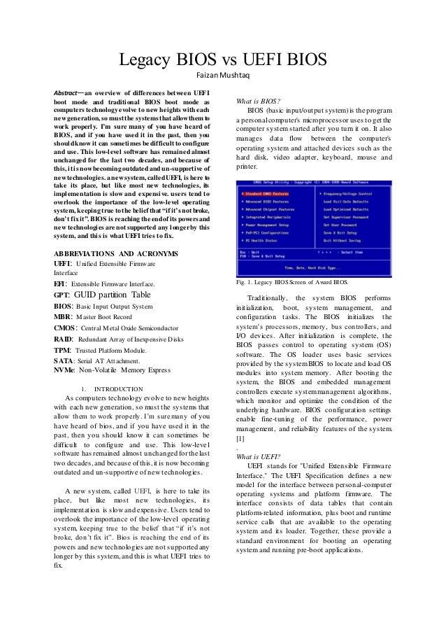Review paper on bios vs uefi