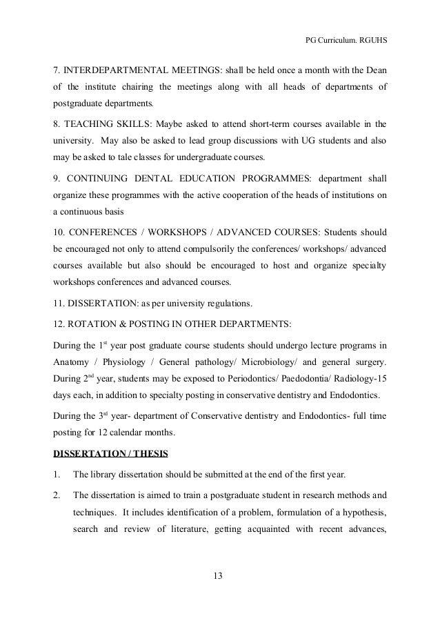 rguhs dissertation topics dental