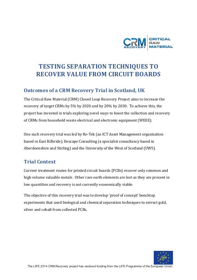 The LIFE 2014 CRM Recovery project has received funding from the LIFE Programme of the European Union.    TESTINGSEPAR...