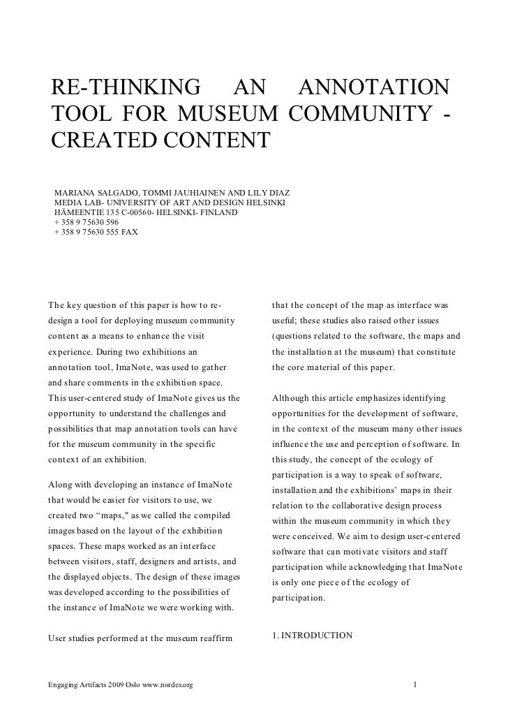 RE-THINKING AN ANNOTATIONTOOL FOR MUSEUM COMMUNITY -CREATED CONTENT MARIANA SALGADO, TOMMI JAUHIAINEN AND LILY DIAZ MEDIA ...