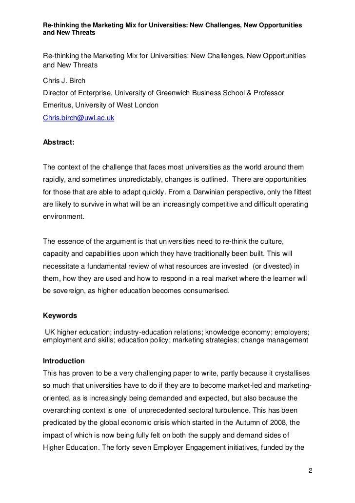 re thinking the marketing mix for universities c j birch feb