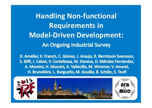 Handling Non-functional Requirements in Model-Driven Development: