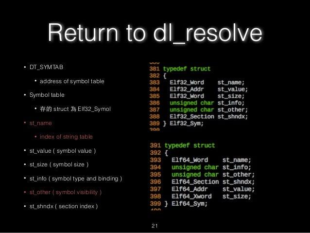 Return to dl_resolve • DT_SYMTAB • address of symbol table • Symbol table • 存的 struct 為 Elf32_Symol • st_name • index of s...