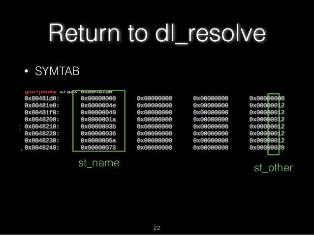 Return to dl_resolve • SYMTAB st_name 22 st_other
