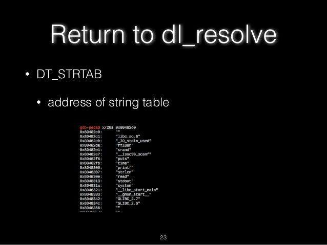 Return to dl_resolve • DT_STRTAB • address of string table 23