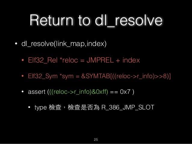Return to dl_resolve • dl_resolve(link_map,index) • Elf32_Rel *reloc = JMPREL + index • Elf32_Sym *sym = &SYMTAB[((reloc->...