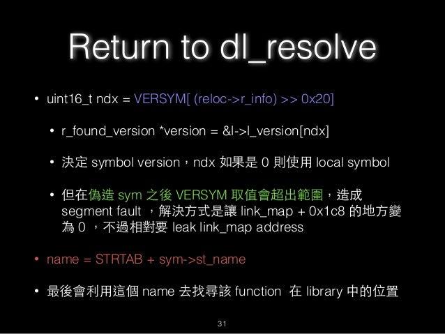Return to dl_resolve • uint16_t ndx = VERSYM[ (reloc->r_info) >> 0x20] • r_found_version *version = &l->l_version[ndx] • 決...
