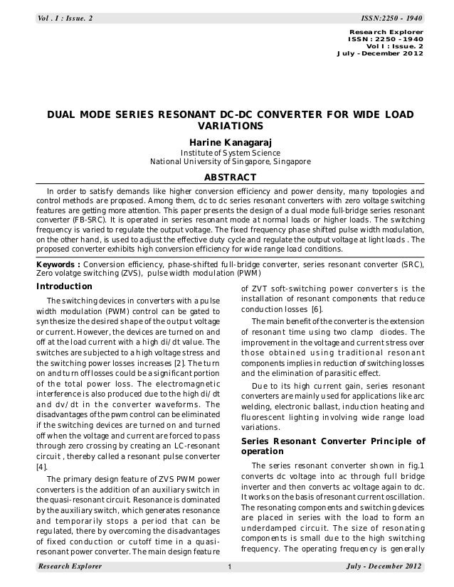 Vol . I : Issue. 2  ISSN:2250 - 1940 Research Explorer ISSN : 2250 - 1940 Vol I : Issue. 2 July - December 2012  DUAL MODE...