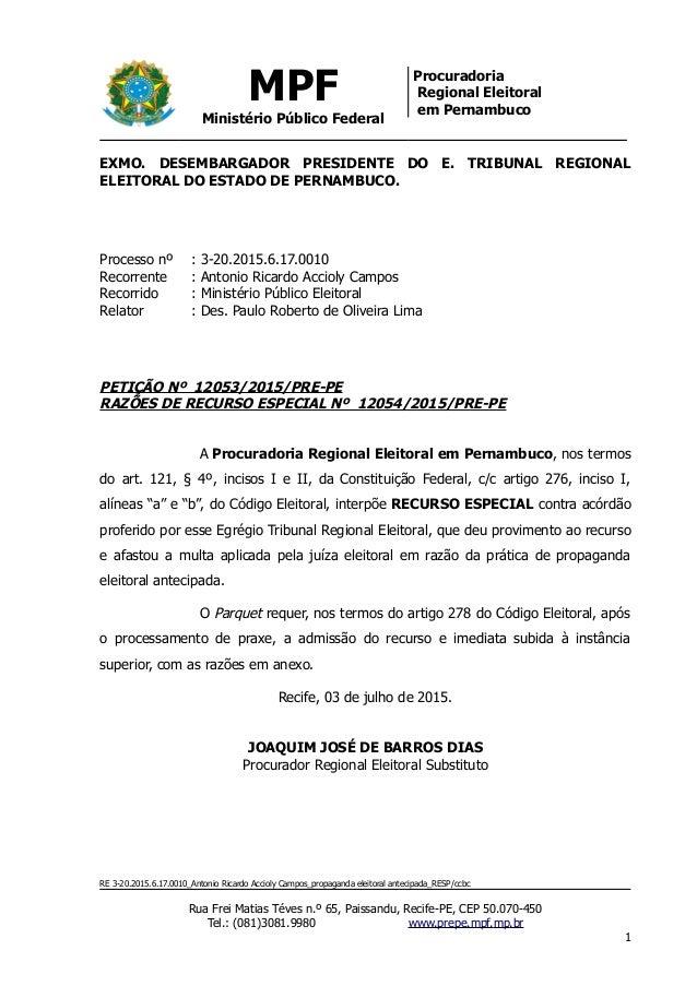 MPF Ministério Público Federal Procuradoria Regional Eleitoral em Pernambuco EXMO. DESEMBARGADOR PRESIDENTE DO E. TRIBUNAL...