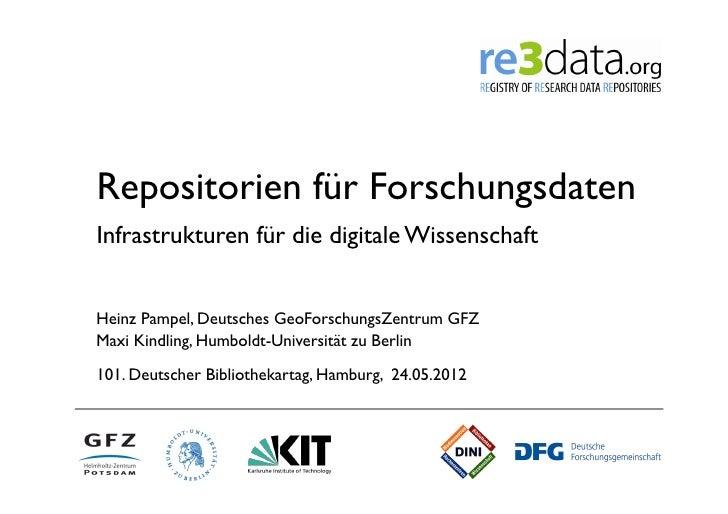 Repositorien für ForschungsdatenInfrastrukturen für die digitale WissenschaftHeinz Pampel, Deutsches GeoForschungsZentrum ...