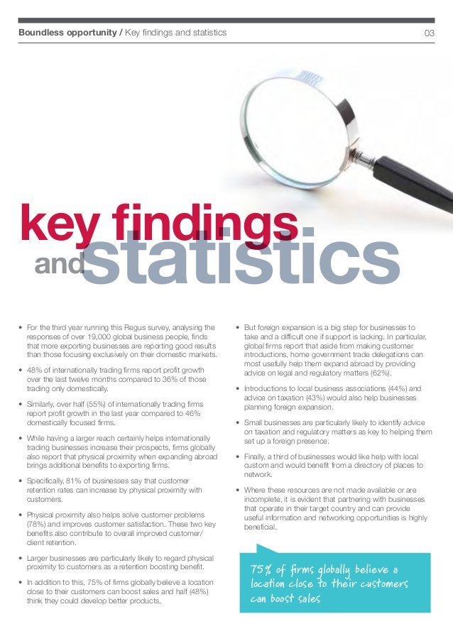 03Boundless opportunity / Key findings and statistics • For the third year running this Regus survey, analysing the respo...