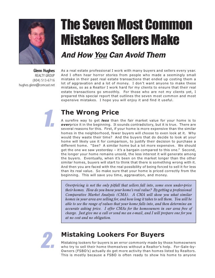The Seven Most Common                            Mistakes Sellers Make                            And How You Can Avoid Th...