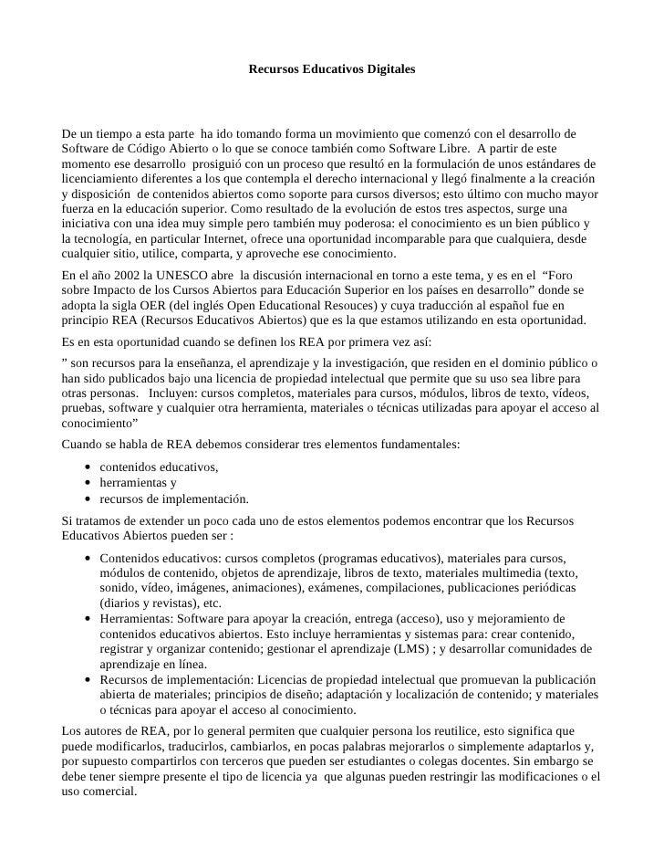 Recursos Educativos Digitales    De un tiempo a esta parte ha ido tomando forma un movimiento que comenzó con el desarroll...