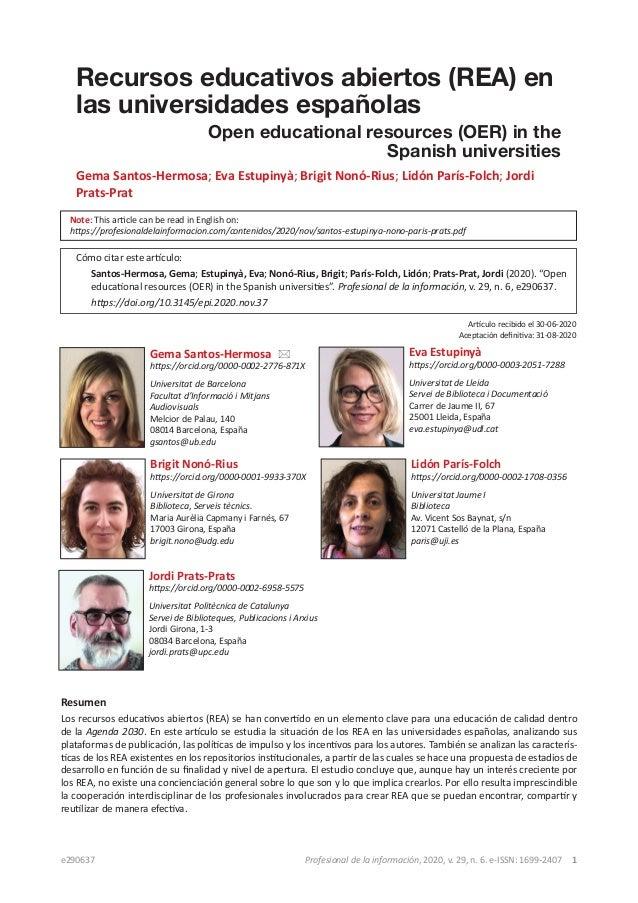 e290637 Profesional de la información, 2020, v. 29, n. 6. e-ISSN: 1699-2407 1 Recursos educativos abiertos (REA) en las u...