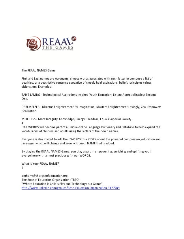 The REAAL NAMES GameFirst and Last names are Acronyms: choose words associated with each letter to compose a list ofqualit...