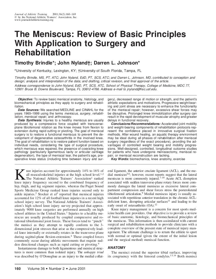 Journal of Athletic Training    2001;36(2):160–169  by the National Athletic Trainers' Association, Incwww.journalofathlet...