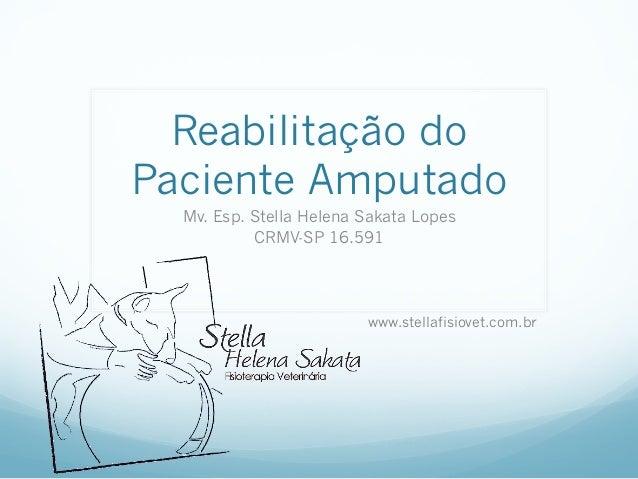 Reabilitação doPaciente Amputado  Mv. Esp. Stella Helena Sakata Lopes           CRMV-SP 16.591                         www...