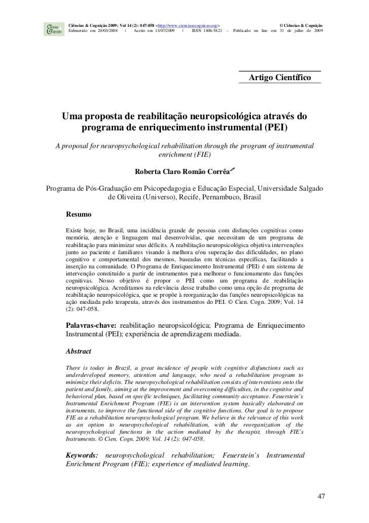 Ciências & Cognição 2009; Vol 14 (2): 047-058 <http://www.cienciasecognicao.org>                            © Ciências & C...