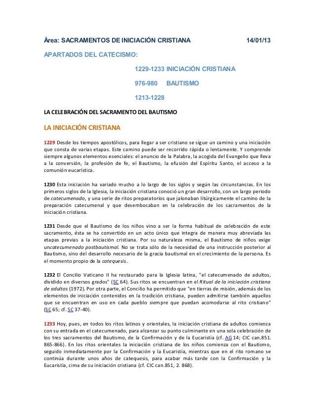 Área: SACRAMENTOS DE INICIACIÓN CRISTIANA                                                  14/01/13APARTADOS DEL CATECISMO...