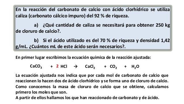 Reacci n qu mica de una caliza con cido clorh drico for Marmol formula quimica