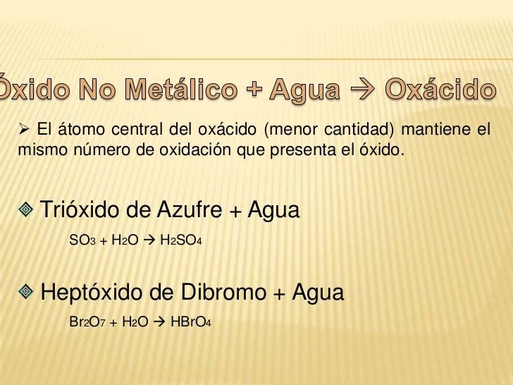 Compuesto<br />Compuesto<br />Óxido Metálico + Agua  Hidróxido<br />Óxido de Sodio + Agua<br />Na2O + H2O  NaOH<br /> Óx...