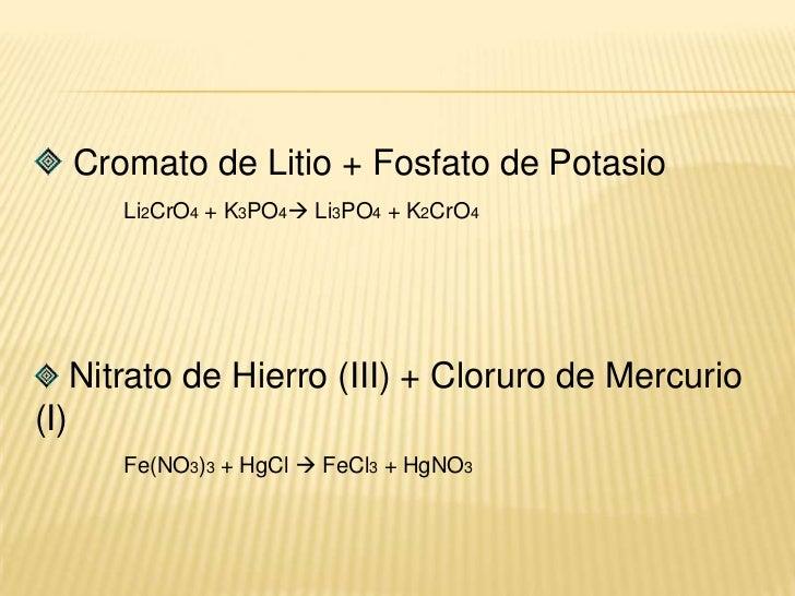 Sulfito de Hierro(III) + Bario<br /> Fe(SO3)3 + Ba  Ba(SO3)2 + Fe<br />Perclorato de Cobre + Litio<br />CuClO4 + Li  Li...